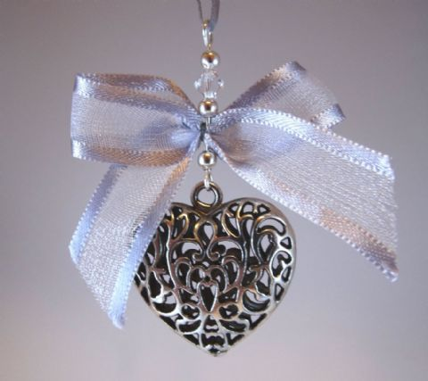 Silver Tone Tibetan Heart, Grey Chiffon Bow & Crystal - Xmas Tree Decoration